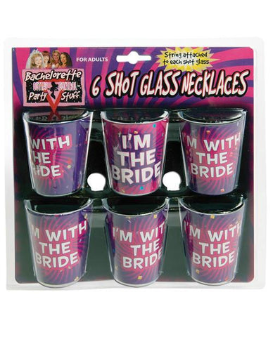 I'm with the Bride Shot Glass Necklaces, 6pk - Bachelorette Superstore - Bachelorette Party Ideas