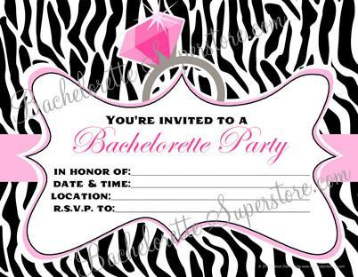 Bachelorette Party Invites - Zebra Stripes
