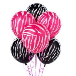 Pink & Black Zebra Latex Balloons, 20 ct