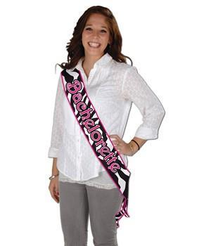 Bachelorette Zebra Print Satin Sash - Bachelorette Superstore - Bachelorette Party Ideas