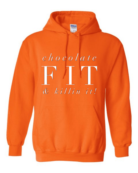 Chocolate Fit & Killin It Bright Colors Hoodie Hoodie Gildan S Orange