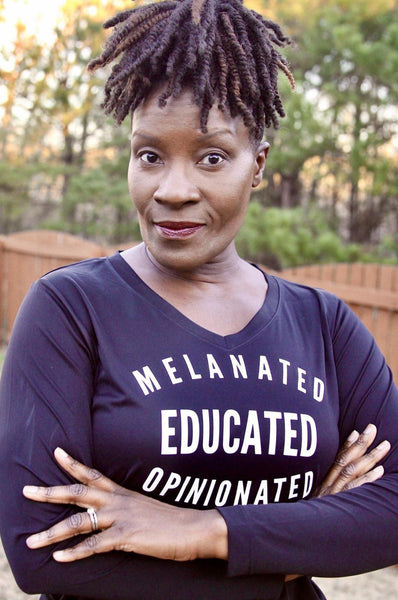 Melanated Educated Opinionated Long Sleeve Long Sleeve T Sport Tek