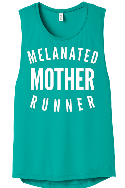 Melanated Mother Runner Muscle Tank Muscle Tank Bella Canva S Teal