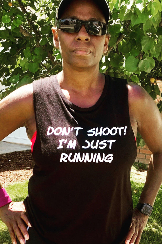Don't Shoot! I'm Just Running Muscle Tank Tank Top Bella Canva