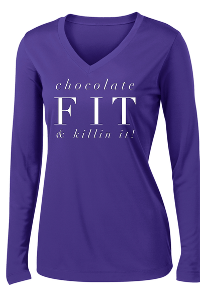 Chocolate Fit & Killin' It! Long Sleeve T Long Sleeve T Sport Tek S Purple