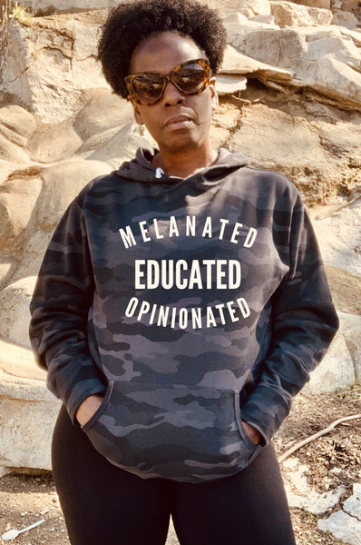 Melanated Educated Opinionated Camouflage Hoodie Hoodie Natural & Fit Designs