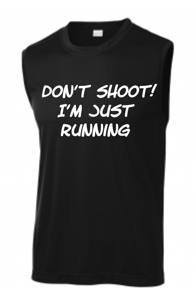 Men's Don't Shoot I'm Just Running Muscle Tank Tank Top Sport Tek