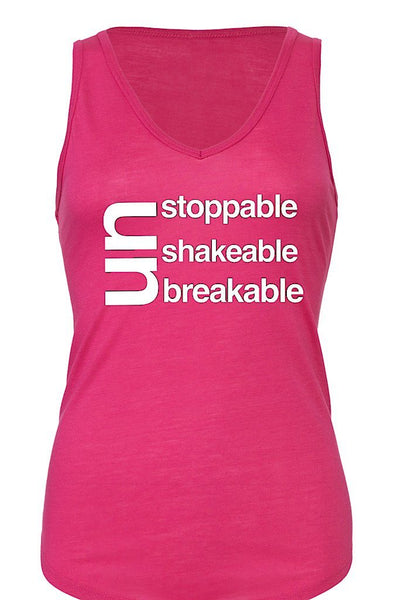 Un Stoppable - Shakable - Breakable Tank Top  Pink (Breast Cancer Awareness)
