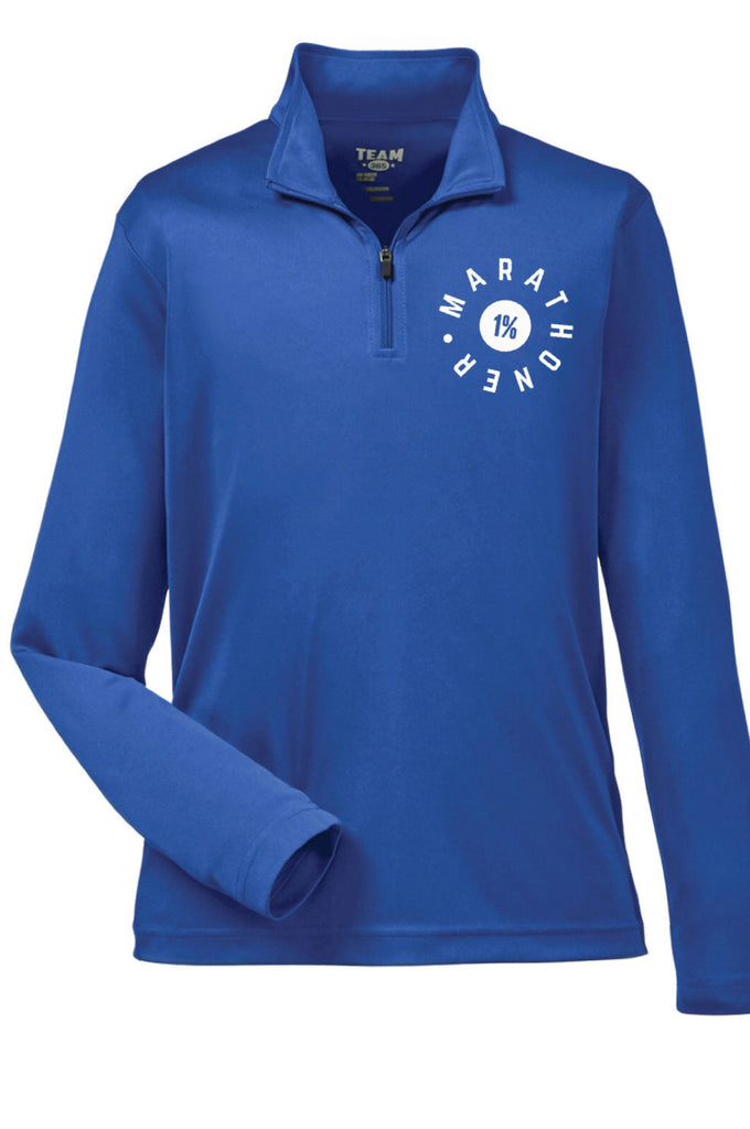 Men's Marathoner - The 1%  Quarter Zip Pullover (Royal Blue)