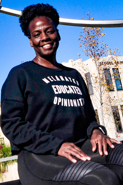 Melanated Educated Opinionated Cropped Sweatshirt Crop Sweatshirt Bella