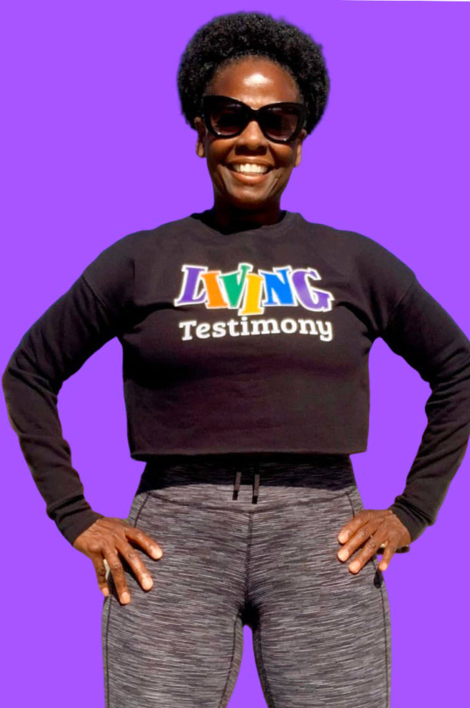 Living Testimony Black Don't Crack Cropped Sweatshirt Crop Sweatshirt Bella Canva
