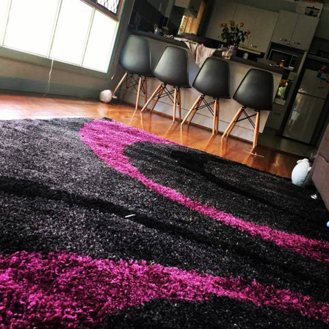 Urban Curves Rug Charcoal Purple
