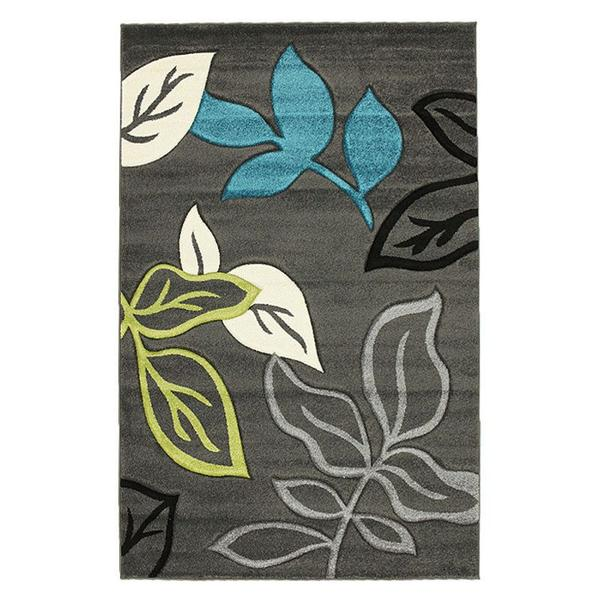 Stunning Thick Leaf Rug Charcoal