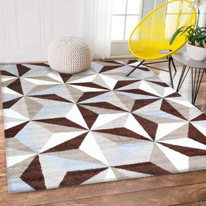 Pablo Grey and White Shape Patterned Rug
