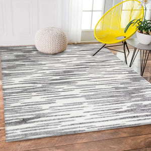 Pablo Grey and Cream Zebra Line Patterned Rug