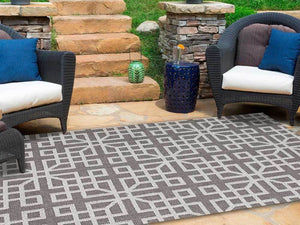 Hawaii Grey Shape Patterned Ikat Indoor Outdoor Rug