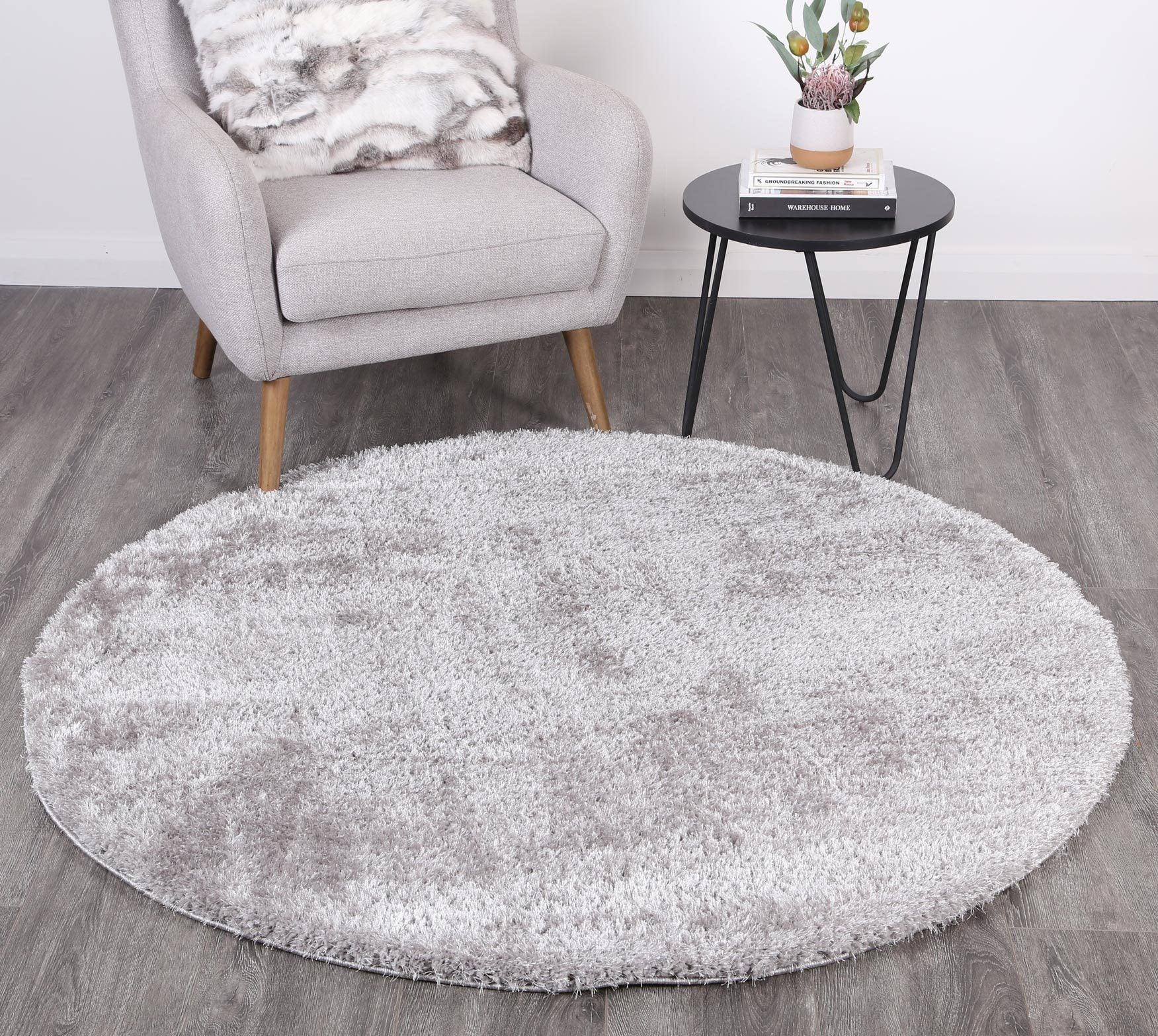 Puffy Soft Shag Round Rug Grey Floorsome