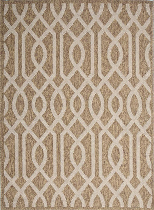 Hawaii Brown Beige Geometric Ikat Indoor Outdoor Rug