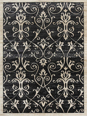 Arya Grey and Beige Ikat Abstract Vines Rug - Floorsome