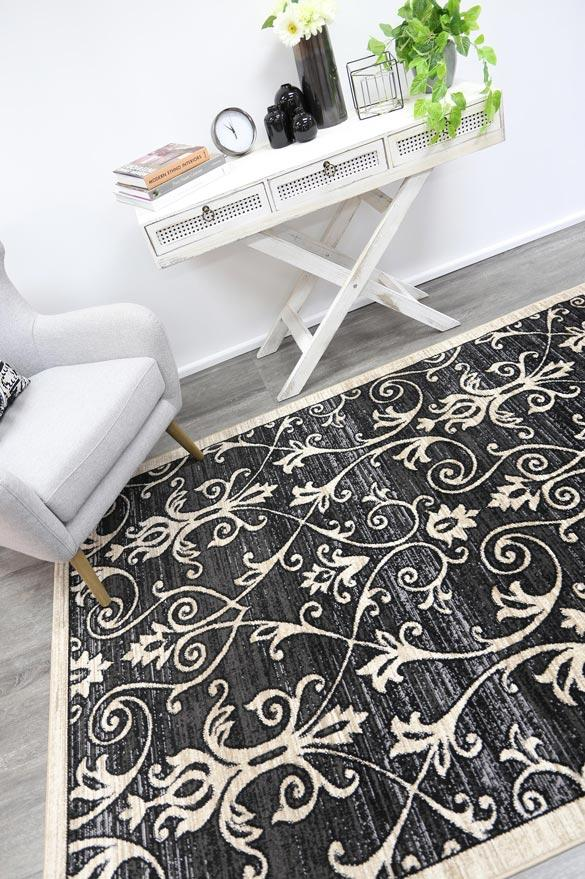 Arya Grey and Beige Ikat Abstract Vines Rug