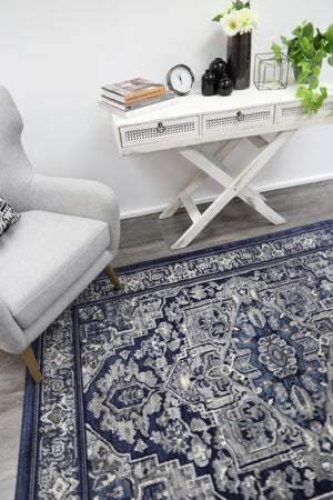 Arya Navy Transistional Traditional Rug - Floorsome