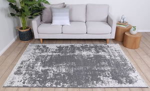 Rustic Vintage Abstract 2 in 1 Reversible Rug Grey