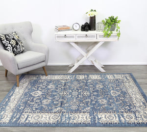 Arya Navy Blue Ziegler Distressed Traditional Ikat Rug - Floorsome