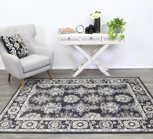 Arya Navy Blue and Grey Ziegler Traditional Ikat Rug - Floorsome