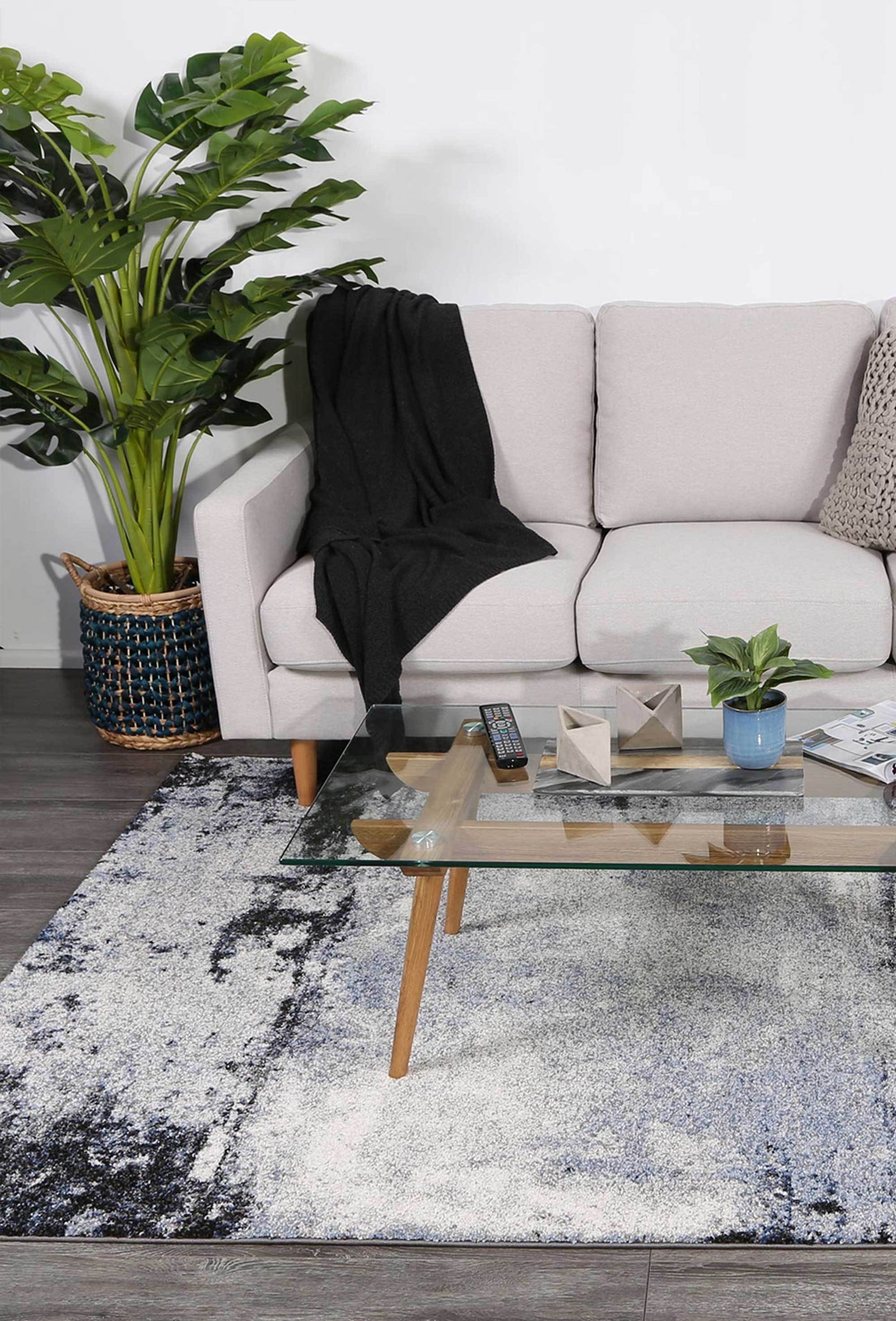 Picture of: Vision Blue And Grey Abstract Modern Rug Floorsome