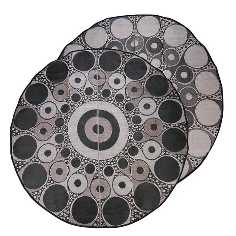 RECONCILIATION Aboriginal Design Recycled Mat, Black, Brown & White 3.6m Round