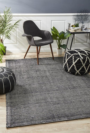 Black Cotton Rayon Rug - Floorsome