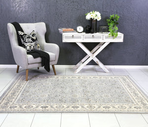 Arya Grey and Cream Traditional Border Rug - Floorsome