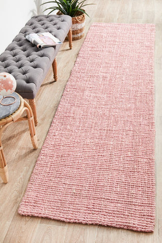 Chunky Natural Fiber Barker Pink Runner Rug - Floorsome