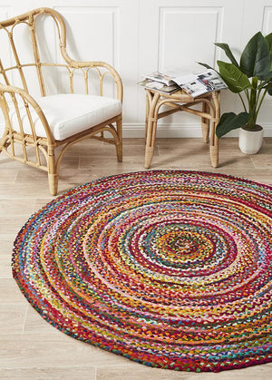 Chandra Braided Cotton Rug Multi - Floorsome