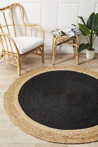 Round Jute Natural Rug Black - Floorsome