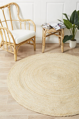 Round Jute Natural Rug Bleached - Floorsome