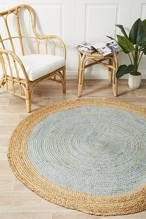 Round Jute Natural Rug Blue - Floorsome