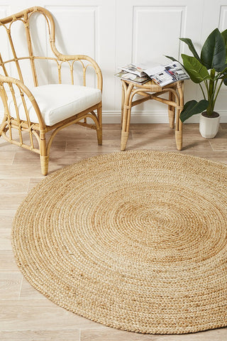 Round Jute Natural Rug - Floorsome