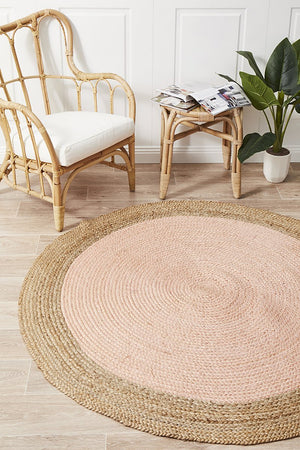 Round Jute Natural Rug Pink - Floorsome