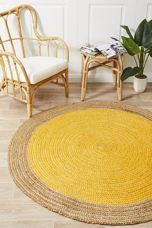 Round Jute Natural Rug Yellow - Floorsome