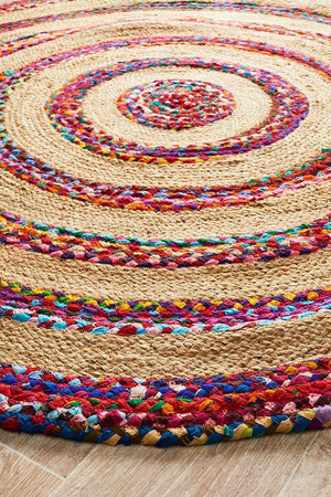 April Target Cotton and Jute Rug Round - Floorsome