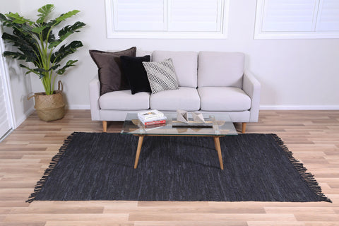 Metro Black Modern Leather Rug