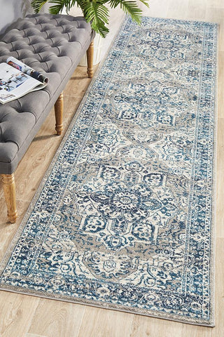 Babil Harran Bohemian Blue Runner Rug - Floorsome
