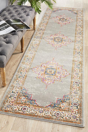 Babil Badra Bohemian Grey Runner Rug - Floorsome