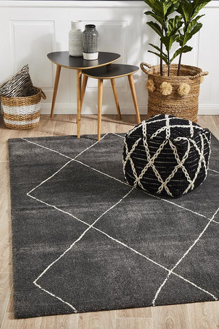 Broadway Jasmine Diamond Charcoal Rug - Floorsome
