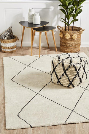 Broadway Jasmine Diamond Ivory Rug - Floorsome