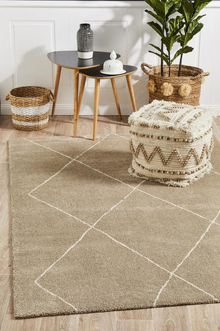 Broadway Jasmine Diamond Natural Rug - Floorsome