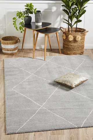 Broadway Jasmine Diamond Silver Rug - Floorsome