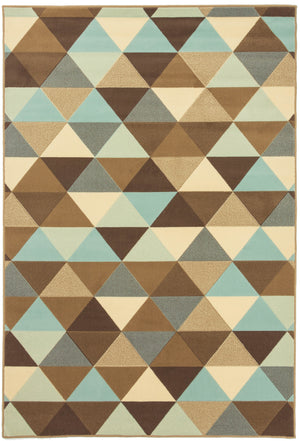 Brussels Triangle Ivory Sky Rug