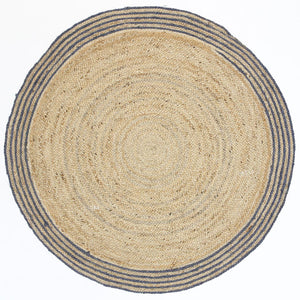 Capri Grey Natural Round Border Rug
